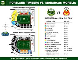 Monarcas Morelia July 3 Copa Verde Seating Map Portland