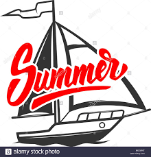 Yacht T Shirt Designs Summer Lettering Phrase With Yacht Illustration Design