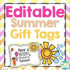 Summer Gift Tags Bright Bubbly Summer Gift Tag Gift Tags School Gifts