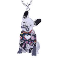 whole french bulldog gifts necklace for women handmade enamel lovely pets dog jewelry can be used as bag keychain silver locket mens pendants for