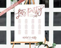 Poster Seating Charts For Wedding Receptions Rose Gold Seating Chart Template Wedding Seating Chart Seating Plan Table Plan Poster Wedding Seating Sign Seating Board Lets Party
