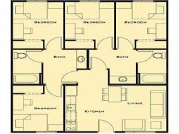 small 4 bedroom house plans.  House Simple 4 Bedroom House Plans 2 Bath 6 Small Aw Intended E