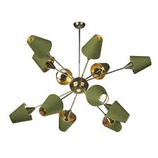 sputnik 12 light ceiling pendant brass with olive green shades