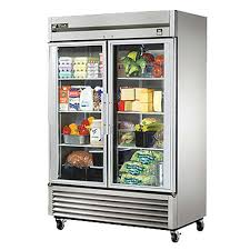 true ts 49g hc fgd01 reach in refrigerator two section 2 glass doors