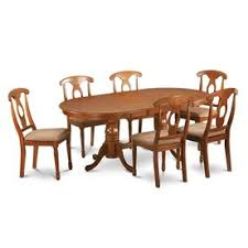 east west furniture plainville saddle brown 7 piece dining set with oval dining table