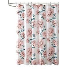 bold fl print fabric shower curtain white pink and green 72in x72 in