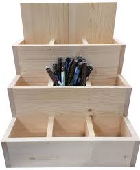 3 tier wood retail display bin dog bone compartment stick pet chew pen pencil