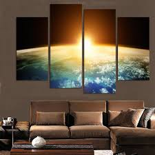 Painting Wall For Living Room Aliexpresscom Buy 4pieces Dream Blue Starry Sky Wall Art
