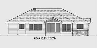 house side elevation view for 10163 one story house plans ranch house plans 3