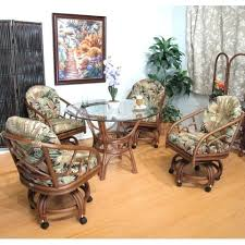 castor dining chairs 5 piece caster dining set walnut rolling dining room set