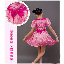 Free Shipping Cosplay Children Pink Minnie Mouse Costume Set Dress
