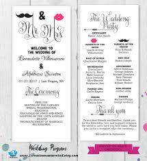 016 Trifold Wedding Program Templates Birthday Template Free