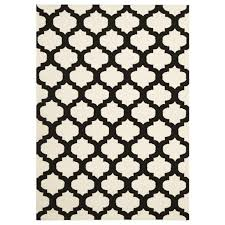 wool moroccan flat weave floor area rug and runners ivory black enhance