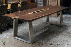 stainless steel furniture designs. Black Walnut Live Edge Table With Stainless Steel Trapezoid Legs - Custom Made For Our Chicago Area Showroom #showroom #liveedge #stainlesssteel # Furniture Designs