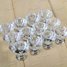 12x Crystal Glass Door Knobs Drawer Cabinet Furniture Handle Knob ...