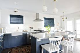blue and gold mid century kitchen gets perfect topper with roman shades