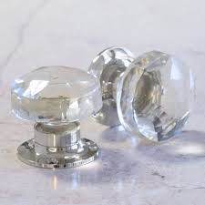 faceted glass internal turning mortice door knobs