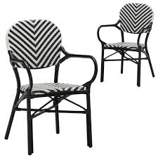 new set of 2 black paris wicker cafe arm chair
