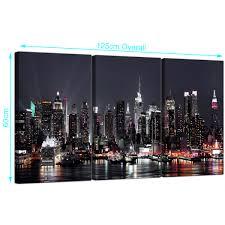 modern new york city skyline black white cities canvas 3 part 125cm 3187 on new york city skyline canvas wall art with large new york skyline canvas pictures set of 3 for your office