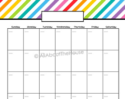 Printable Day Calendar 2015 Weekly Planner Printable Rainbow Stripe Pdf Editable Fillable Etsy