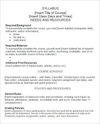 weekly syllabus template college course syllabus template templates franklinfire co