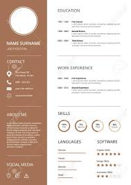Clean And Modern Resume Cv Template With Icons White Background