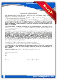 Free Printable Guaranty With Pledge Form (Generic)