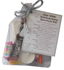 smile gifts uk silver 25th anniversary survival kit gift great novelty present for silver anniversary or wedding anniversary for husband