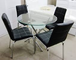5 piece glass dining table set glass table and 4 chair sets metal kitchen room furniture silver round glass kitchen table round glass dining table for 6