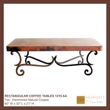 Iron Coffee Table Base Coffee Rectangular Table Iron Base Chocolate Finish Copper Natural