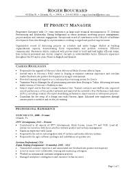 Project Manager Resume Cool IT Project Manager Resume