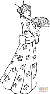 Chinese Woman In A Traditional Dress Coloring Page Free Printable