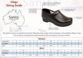 Sanita Size Guide Sanita Wellness Footwear