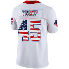 Design Your Own Football Uniform For Fun Custom Trump 45 Football Jersey Embroidery Usa Flag Style Breathable And Dry