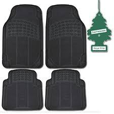 BDK Heavy Duty Black Rubber Car 4 Pc Car Floor Mats Set All Weather