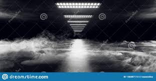 Cyber White Fog Lights Smoke Fog Sci Fi Cyber Futuristic Alien Ship Dance Light
