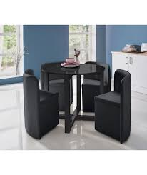 hygena black gloss space saver table and 4 chairs at
