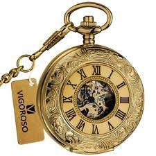 mens gold pocket watches classic mens mechanical pocket watch double hunter swiss antique gold silver