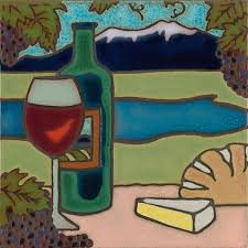 wine and cheese hand painted art tile