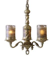uttermost katia 3 light chandelier in heavily antiqued cream ivory 21211 photo