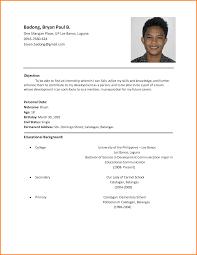 Sample Resume Tagalog Format Grassmtnusa Com