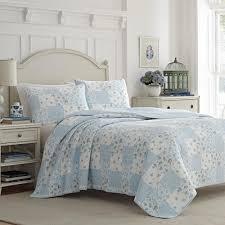 laura ashley kenna blue 3 piece king quilt set