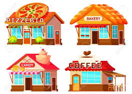 Isolated Coffee Bakery Pizzeria And Candy Shop Colorful Storefronts