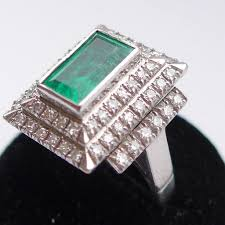 emerald rings differences between the real and synthetic. HUGE VINTAGE ART DECO STYLE 2CT EMERALD \u0026 1.24 DIAMOND RING 18CT WHITE GOLD UK N Emerald Rings Differences Between The Real And Synthetic