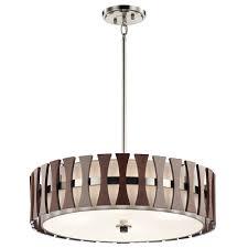 kichler 43753aub cirus modern auburn stained drum pendant lighting fixture loading zoom