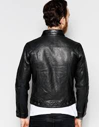 levi s leather trucker jacket premium goods slim fit in black levi s black men