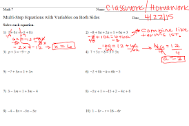 multi step equations with variables on both sides worksheet 1 10 below 20160422 105856 20160422 110001 20160422 110017 20160422 110036 ws 1 10