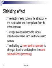 Electron Shielding Ch1_extra Pdf Shielding Effect The Electron Feels Not Only