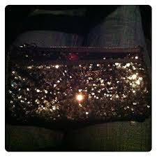 black silver sequined makeup bag victorias secret