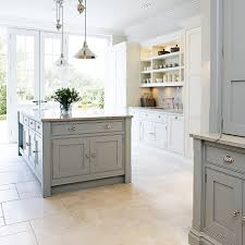 Shaker Style Kitchen Light Reflective Floor And Worktop Coloured Units Worth